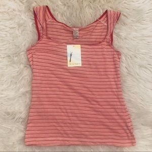 Free People Red Pink Striped Tank Top NWT